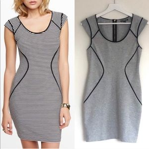 Express Piped Contour Cap Sleeve Sheath Mini Dress
